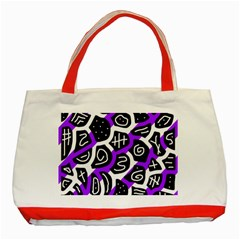 Purple Playful Design Classic Tote Bag (red) by Valentinaart