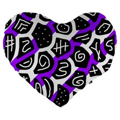 Purple Playful Design Large 19  Premium Flano Heart Shape Cushions by Valentinaart