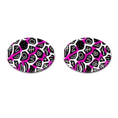 Magenta Playful Design Cufflinks (oval) by Valentinaart