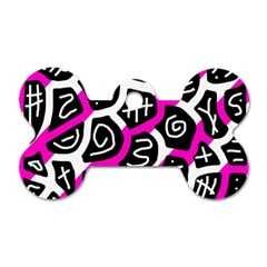 Magenta Playful Design Dog Tag Bone (one Side) by Valentinaart