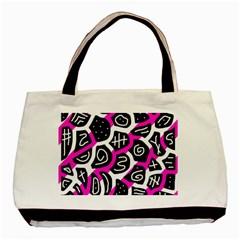 Magenta Playful Design Basic Tote Bag (two Sides) by Valentinaart