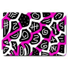 Magenta Playful Design Large Doormat  by Valentinaart
