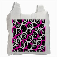 Magenta Playful Design Recycle Bag (one Side) by Valentinaart