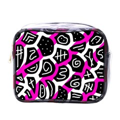 Magenta Playful Design Mini Toiletries Bags by Valentinaart