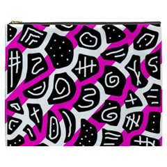 Magenta Playful Design Cosmetic Bag (xxxl)  by Valentinaart