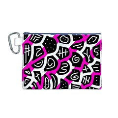 Magenta Playful Design Canvas Cosmetic Bag (m) by Valentinaart