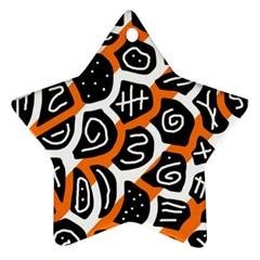 Orange Playful Design Ornament (star)  by Valentinaart
