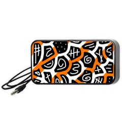 Orange Playful Design Portable Speaker (black)  by Valentinaart