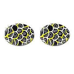 Yellow Playful Design Cufflinks (oval) by Valentinaart