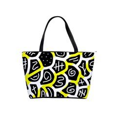 Yellow Playful Design Shoulder Handbags by Valentinaart