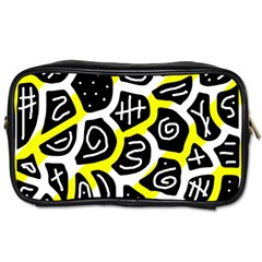 Yellow Playful Design Toiletries Bags 2 Side by Valentinaart