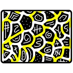Yellow Playful Design Fleece Blanket (large)  by Valentinaart