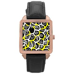 Yellow Playful Design Rose Gold Leather Watch  by Valentinaart