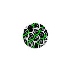 Green Playful Design 1  Mini Magnets by Valentinaart