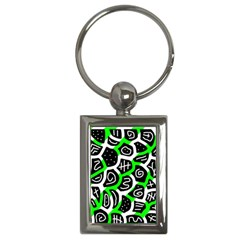 Green Playful Design Key Chains (rectangle)  by Valentinaart