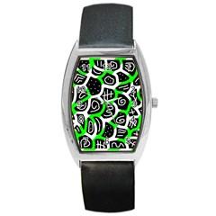 Green Playful Design Barrel Style Metal Watch by Valentinaart