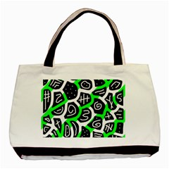 Green Playful Design Basic Tote Bag (two Sides) by Valentinaart