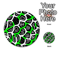 Green Playful Design Multi Purpose Cards (round)  by Valentinaart