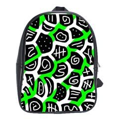 Green Playful Design School Bags (xl)  by Valentinaart