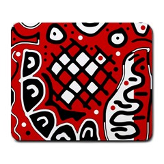Red High Art Abstraction Large Mousepads by Valentinaart