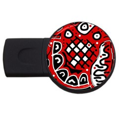 Red High Art Abstraction Usb Flash Drive Round (2 Gb)  by Valentinaart
