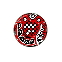 Red High Art Abstraction Hat Clip Ball Marker (4 Pack) by Valentinaart