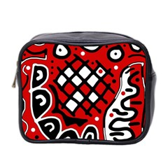 Red High Art Abstraction Mini Toiletries Bag 2 Side by Valentinaart