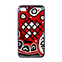 Red High Art Abstraction Apple Iphone 4 Case (black) by Valentinaart