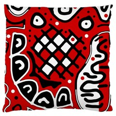 Red High Art Abstraction Large Cushion Case (two Sides) by Valentinaart