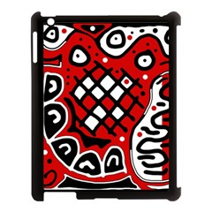 Red High Art Abstraction Apple Ipad 3/4 Case (black) by Valentinaart