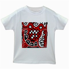 Red High Art Abstraction Kids White T Shirts by Valentinaart