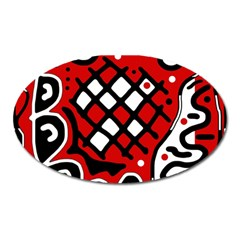 Red High Art Abstraction Oval Magnet by Valentinaart