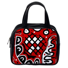 Red High Art Abstraction Classic Handbags (one Side) by Valentinaart