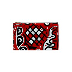 Red High Art Abstraction Cosmetic Bag (small)  by Valentinaart