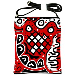 Red High Art Abstraction Shoulder Sling Bags by Valentinaart