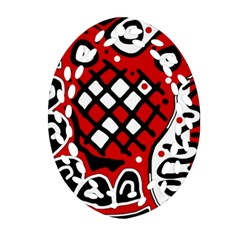 Red High Art Abstraction Oval Filigree Ornament (2 Side)  by Valentinaart