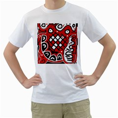 Red High Art Abstraction Men s T Shirt (white)  by Valentinaart