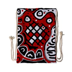 Red High Art Abstraction Drawstring Bag (small) by Valentinaart
