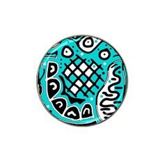 Cyan High Art Abstraction Hat Clip Ball Marker by Valentinaart