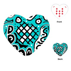 Cyan High Art Abstraction Playing Cards (heart)  by Valentinaart