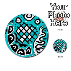 Cyan High Art Abstraction Multi Purpose Cards (round)  by Valentinaart