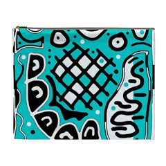 Cyan High Art Abstraction Cosmetic Bag (xl) by Valentinaart