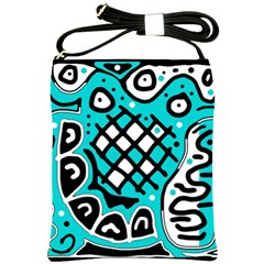 Cyan High Art Abstraction Shoulder Sling Bags by Valentinaart