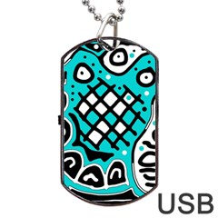 Cyan High Art Abstraction Dog Tag Usb Flash (one Side) by Valentinaart