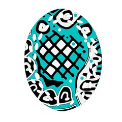 Cyan High Art Abstraction Ornament (oval Filigree)  by Valentinaart