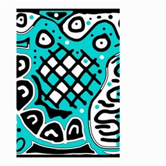 Cyan High Art Abstraction Small Garden Flag (two Sides) by Valentinaart