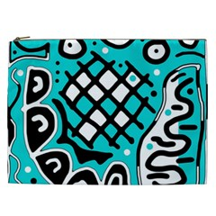 Cyan High Art Abstraction Cosmetic Bag (xxl)  by Valentinaart