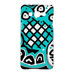 Cyan High Art Abstraction Samsung Galaxy A5 Hardshell Case  by Valentinaart