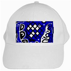 Blue high art abstraction White Cap