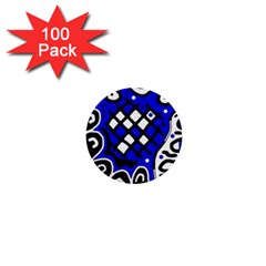 Blue High Art Abstraction 1  Mini Buttons (100 Pack)  by Valentinaart